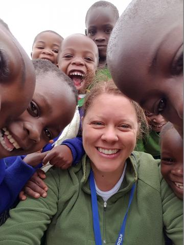 My big trip was to Tanzania to help kids learn English.