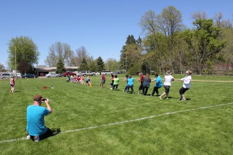 Staff vs 5th graders Tug-o-War