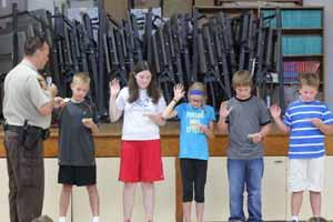The patrols take their oath to protect our students