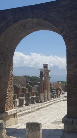 I went on a trip to Italy.  I visited the city Pompeii that was buried by a volcano.