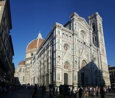 I saw beautiful buildings like the cathedral in Florence.